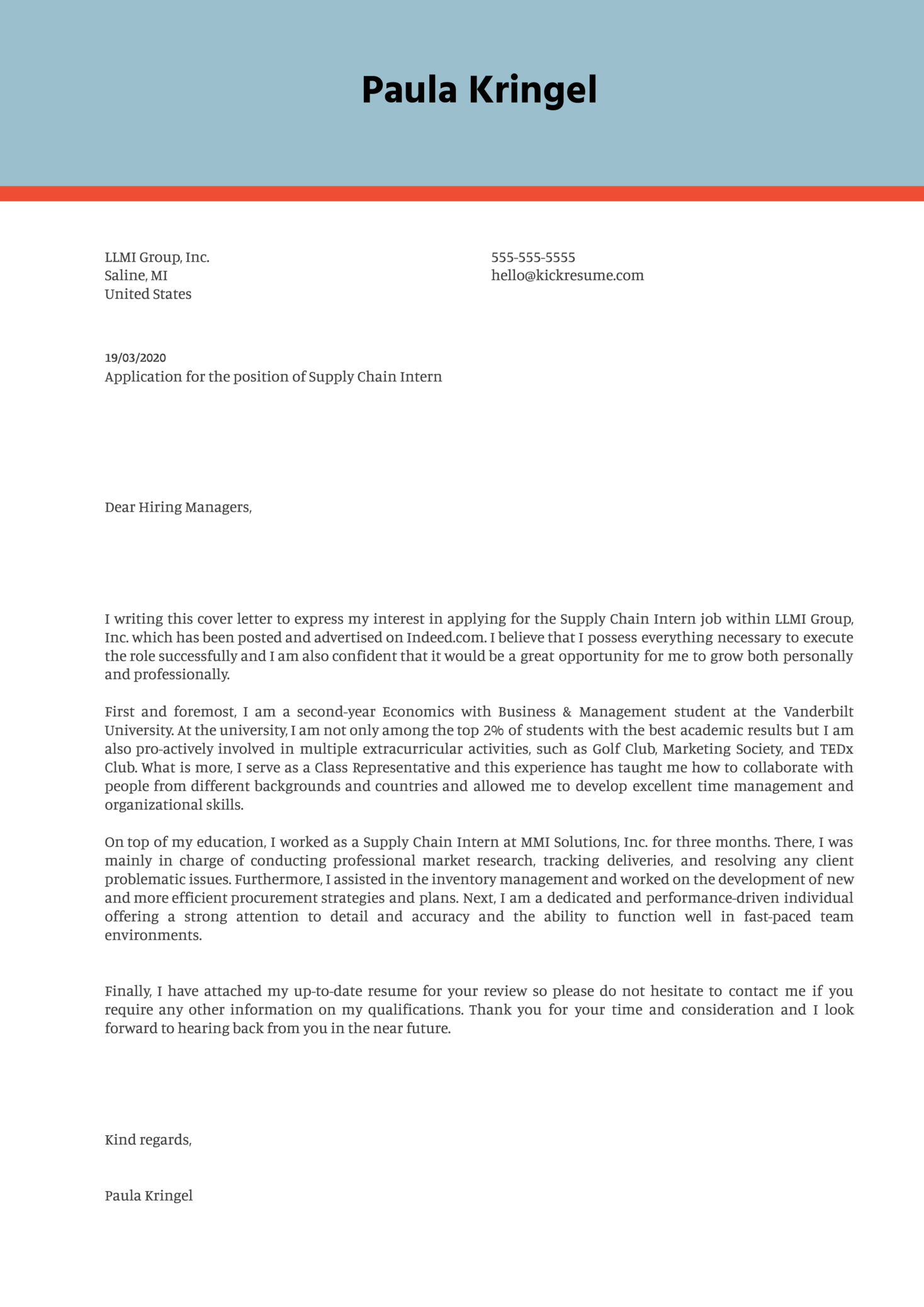 Supply Chain Internship Cover Letter Example Kickresume