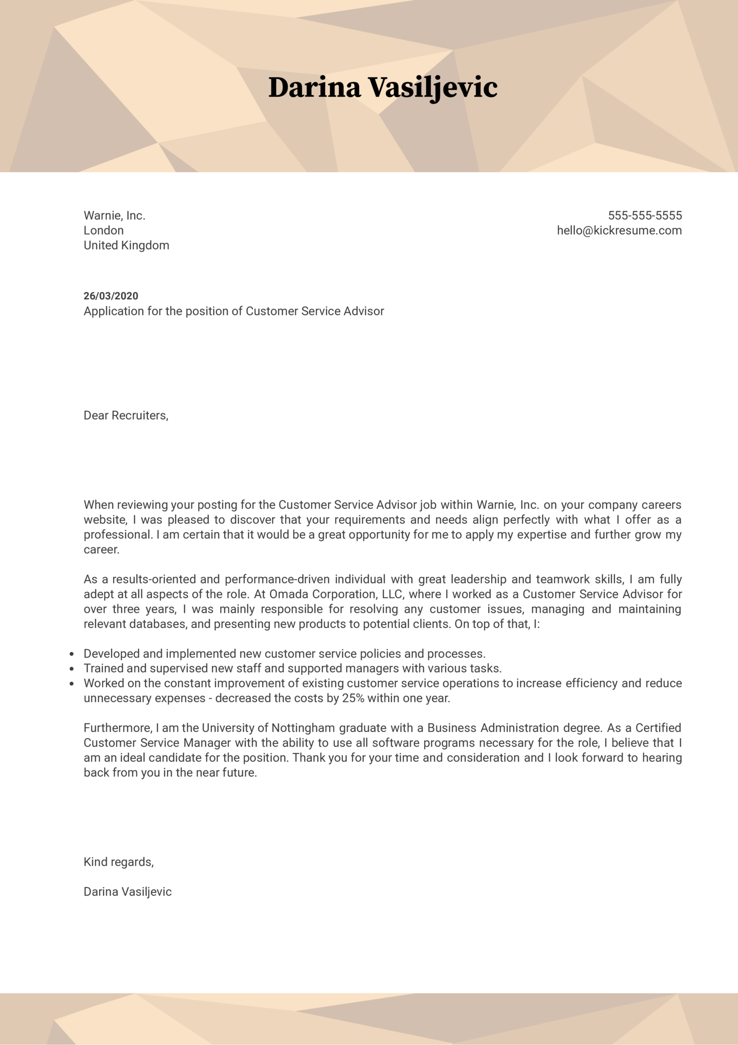 customer service advisor cover letter sample