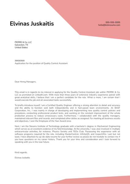 Quality Control Assistant Cover Letter Sample
