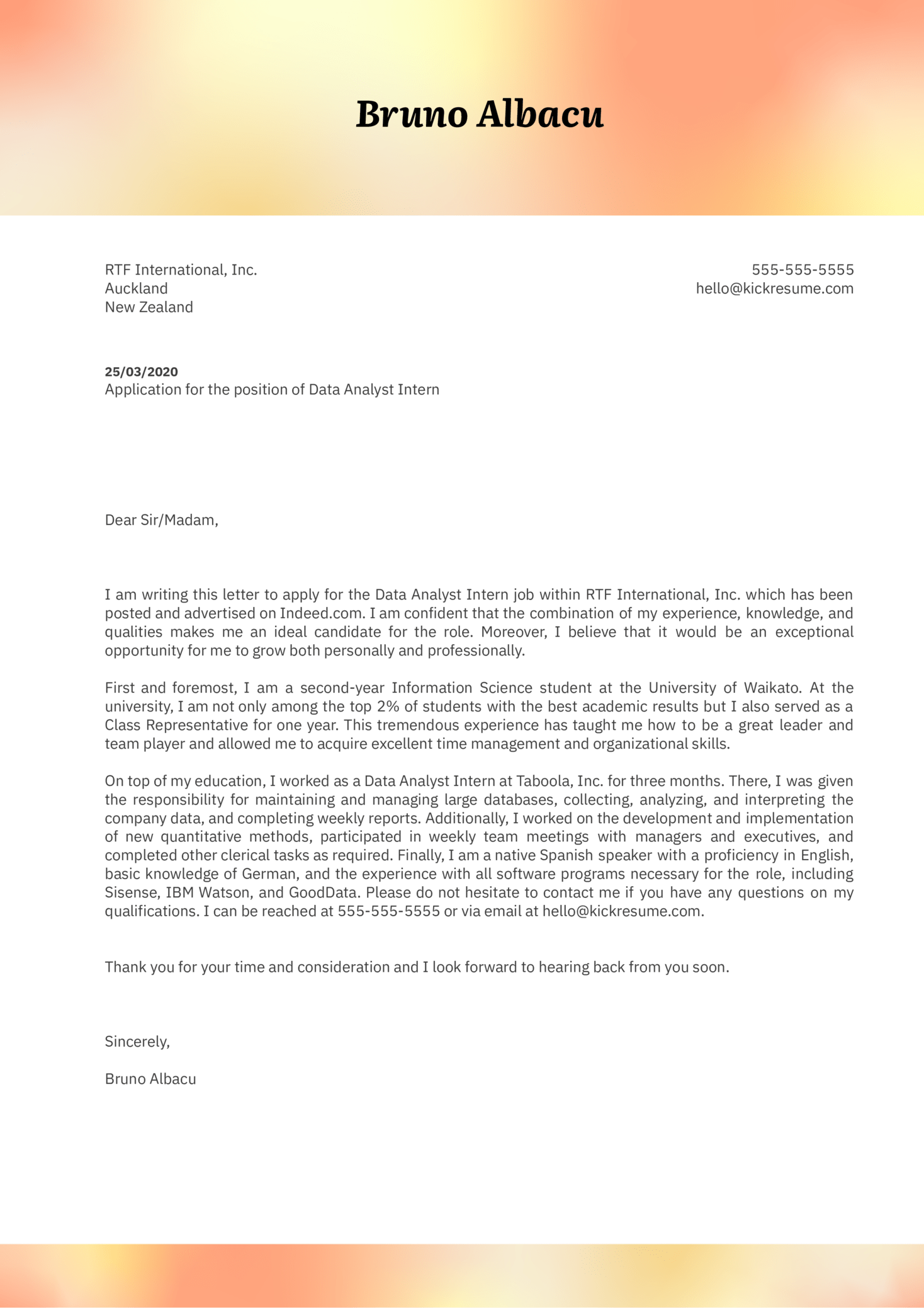 data analyst intern cover letter example