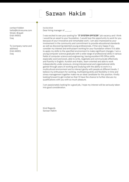 IT assistant lecturer cover letter template