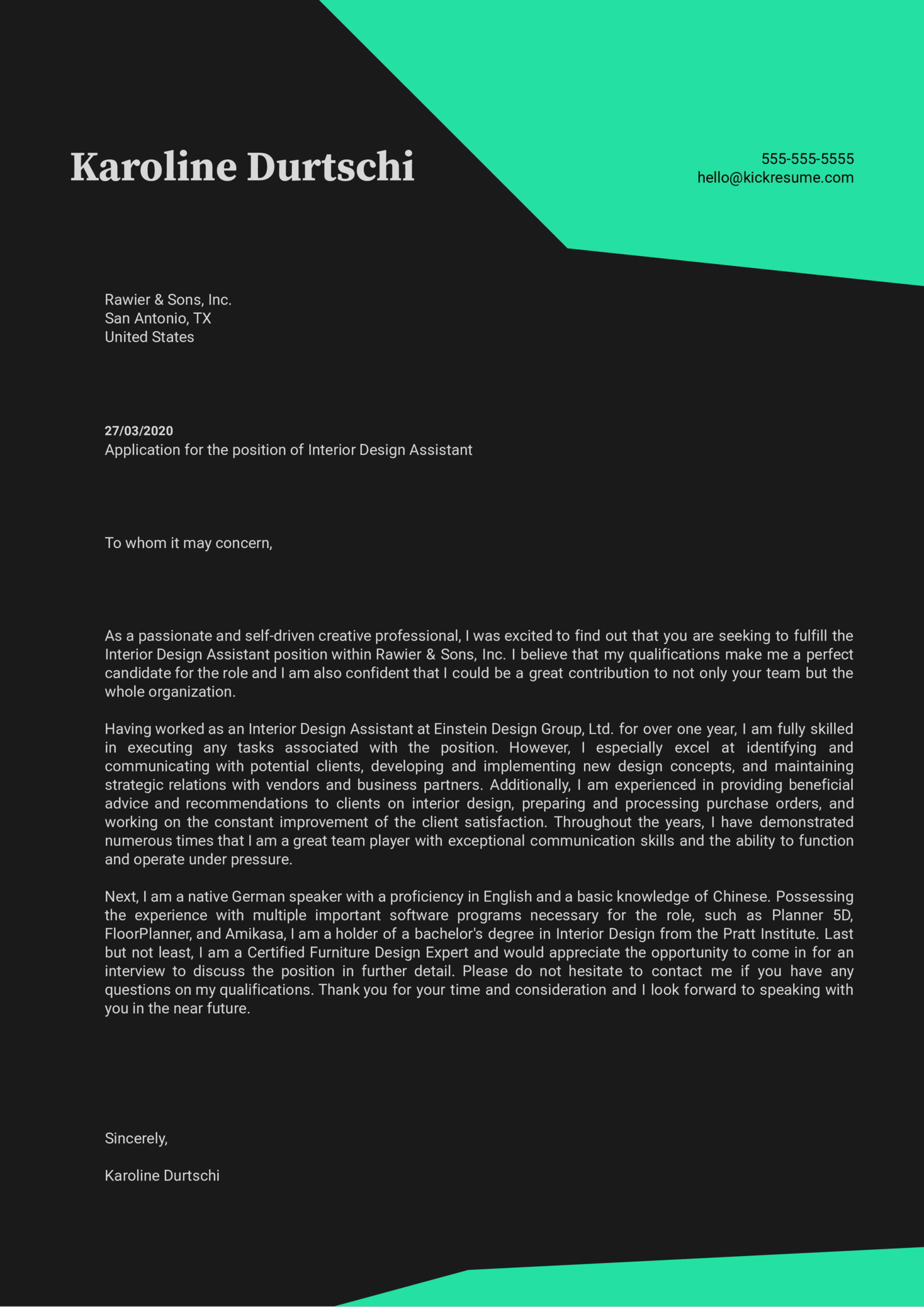 Interior Design Assistant Cover Letter Sample Kickresume