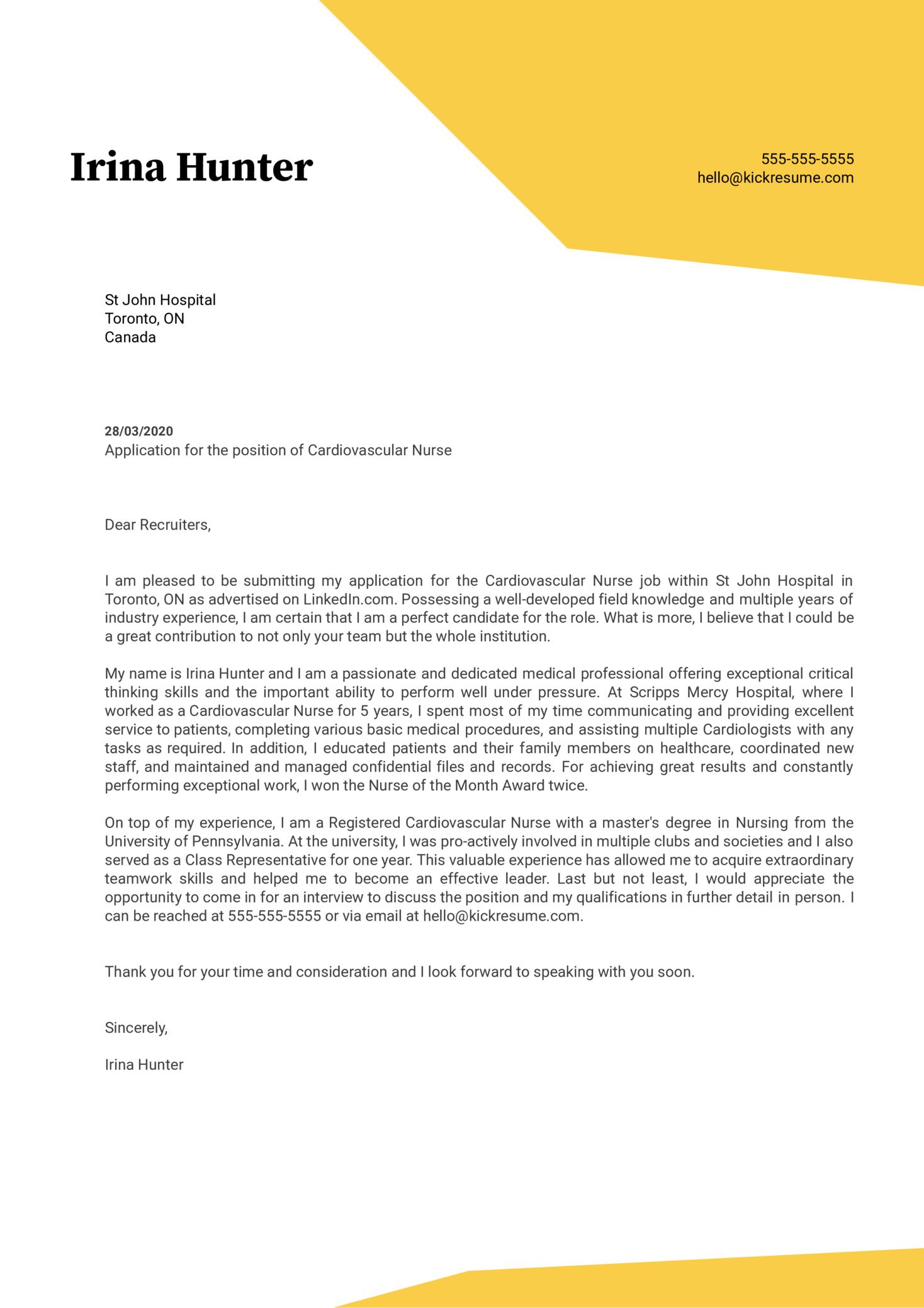 Cardiovascular Nurse Cover Letter Example Kickresume