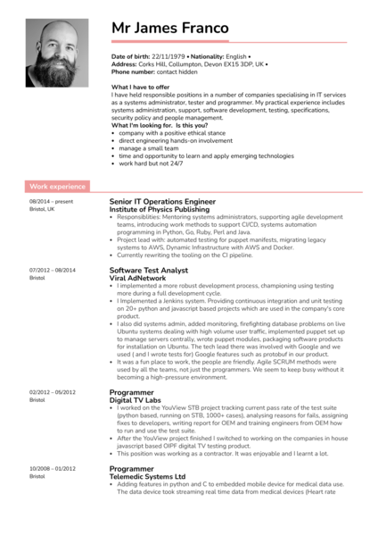 Oracle Senior IT Operations Engineer Resume Template
