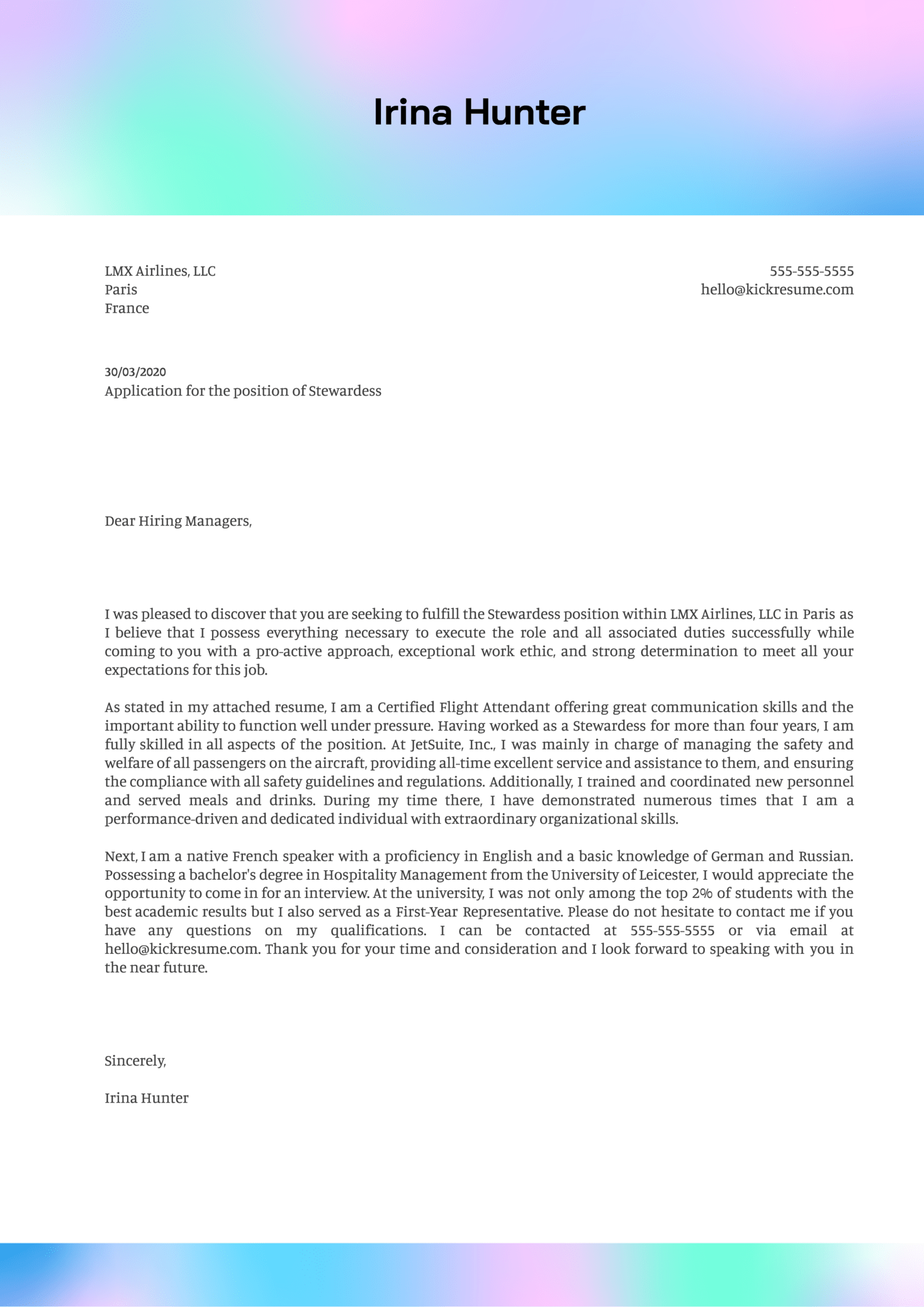 Stewardess Cover Letter Example