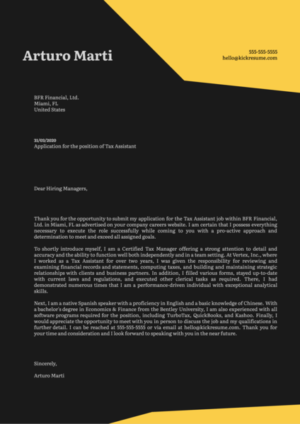 Tax Assistant Cover Letter Sample