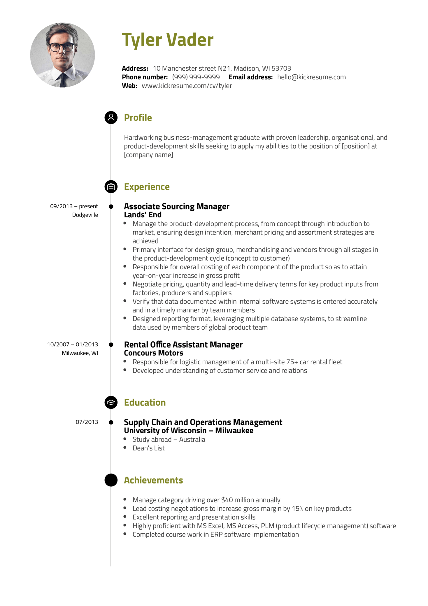 Business Management Graduate Cv Example 106312 69 Edit This Resume Sample