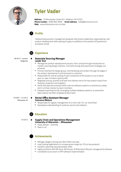 Business & Management Graduate CV Example