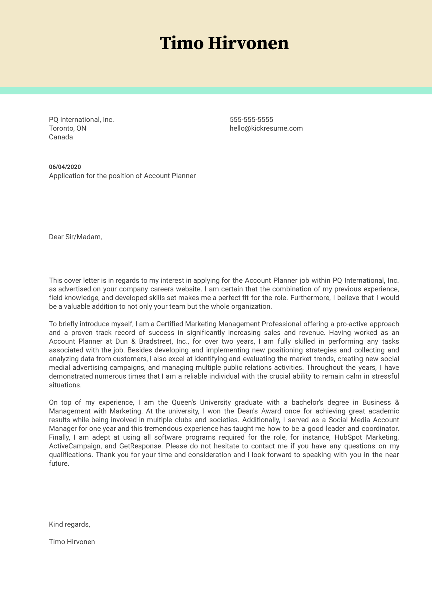 Account Planner Cover Letter Example