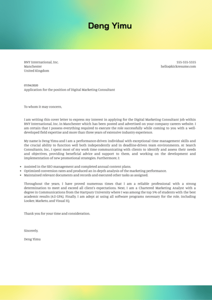Digital Marketing Consultant Cover Letter Sample