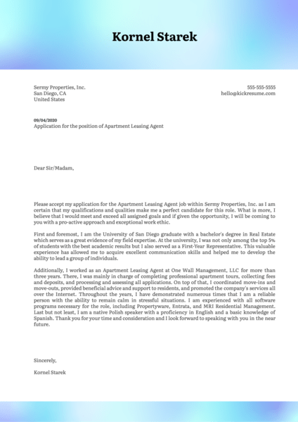 Apartment Leasing Agent Cover Letter Template