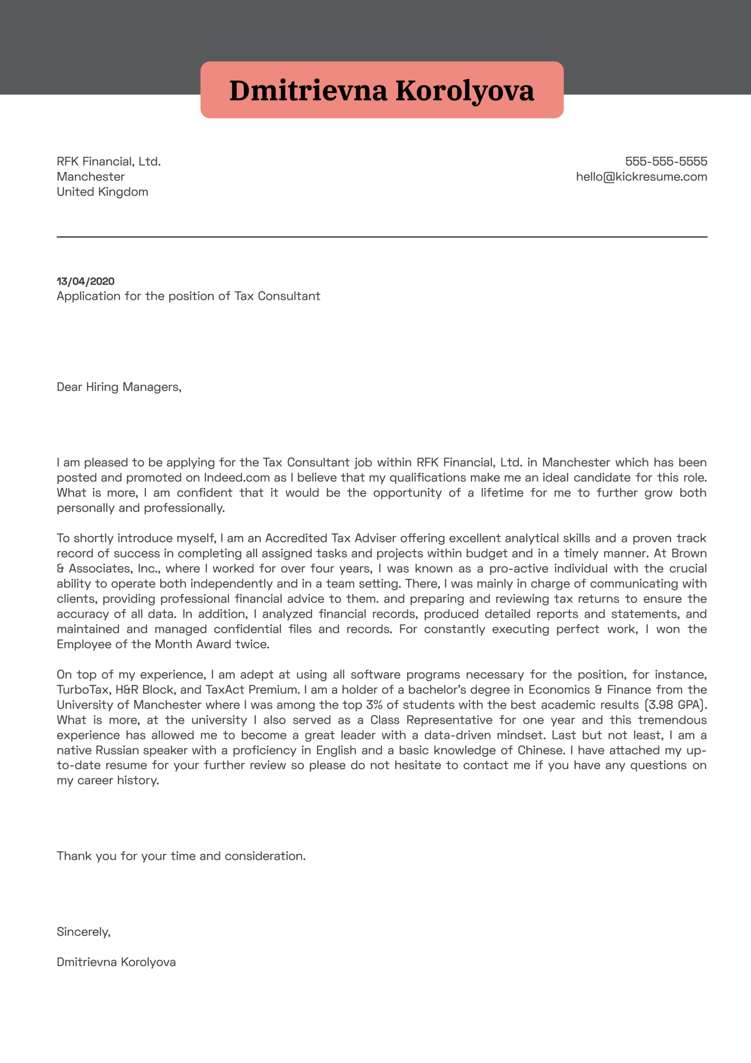 Tax Consultant Cover Letter Example