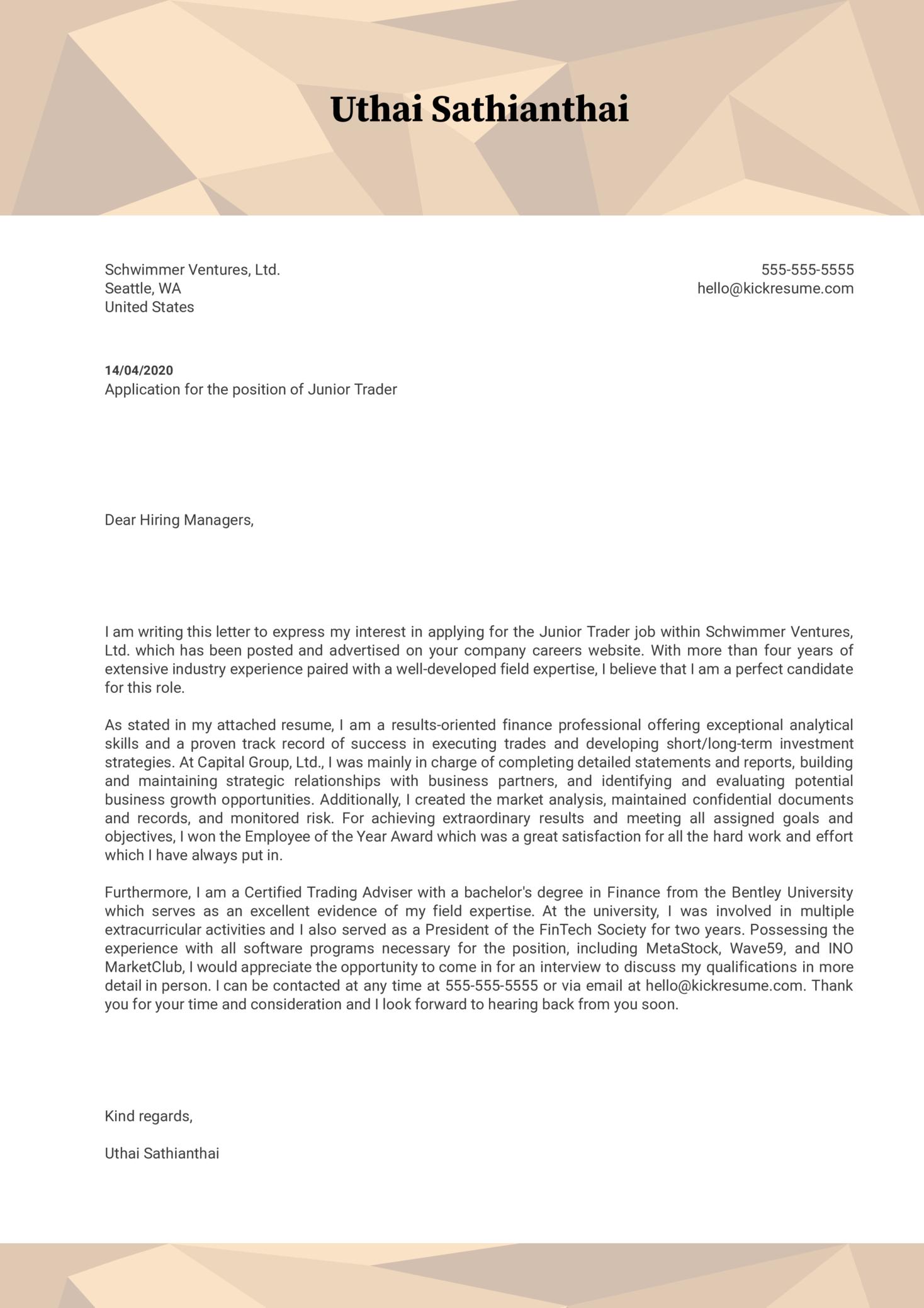 Junior Trader Cover Letter Sample