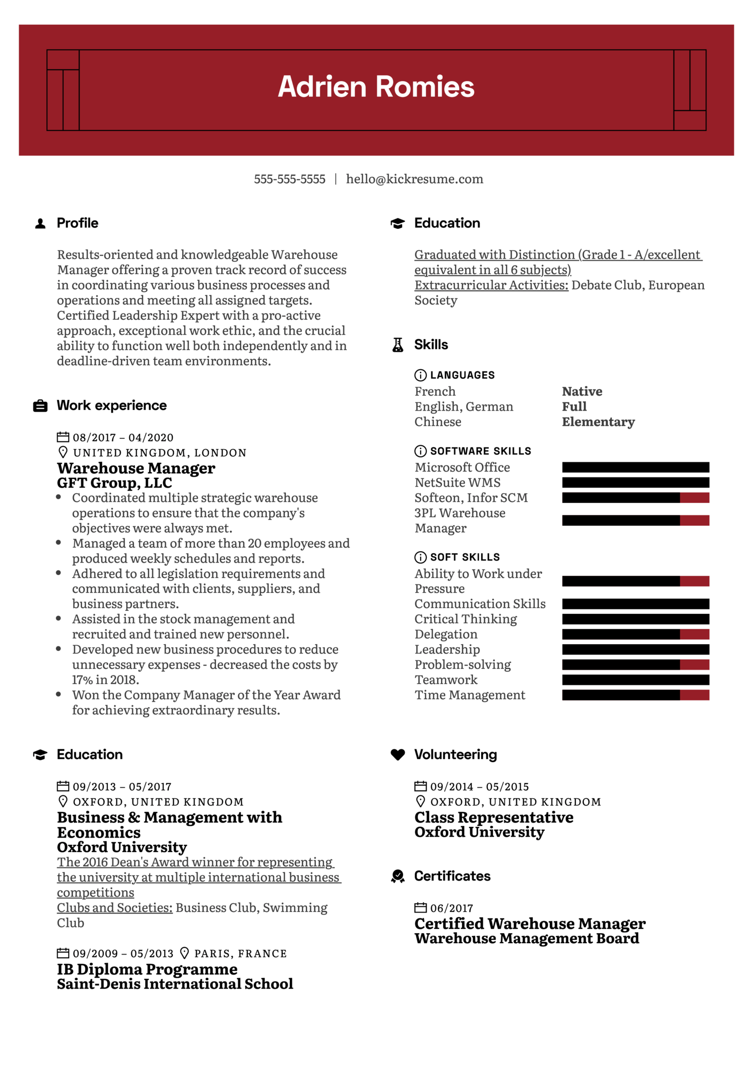 Warehouse Manager CV Example