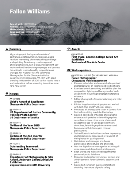 Photo editor resume template