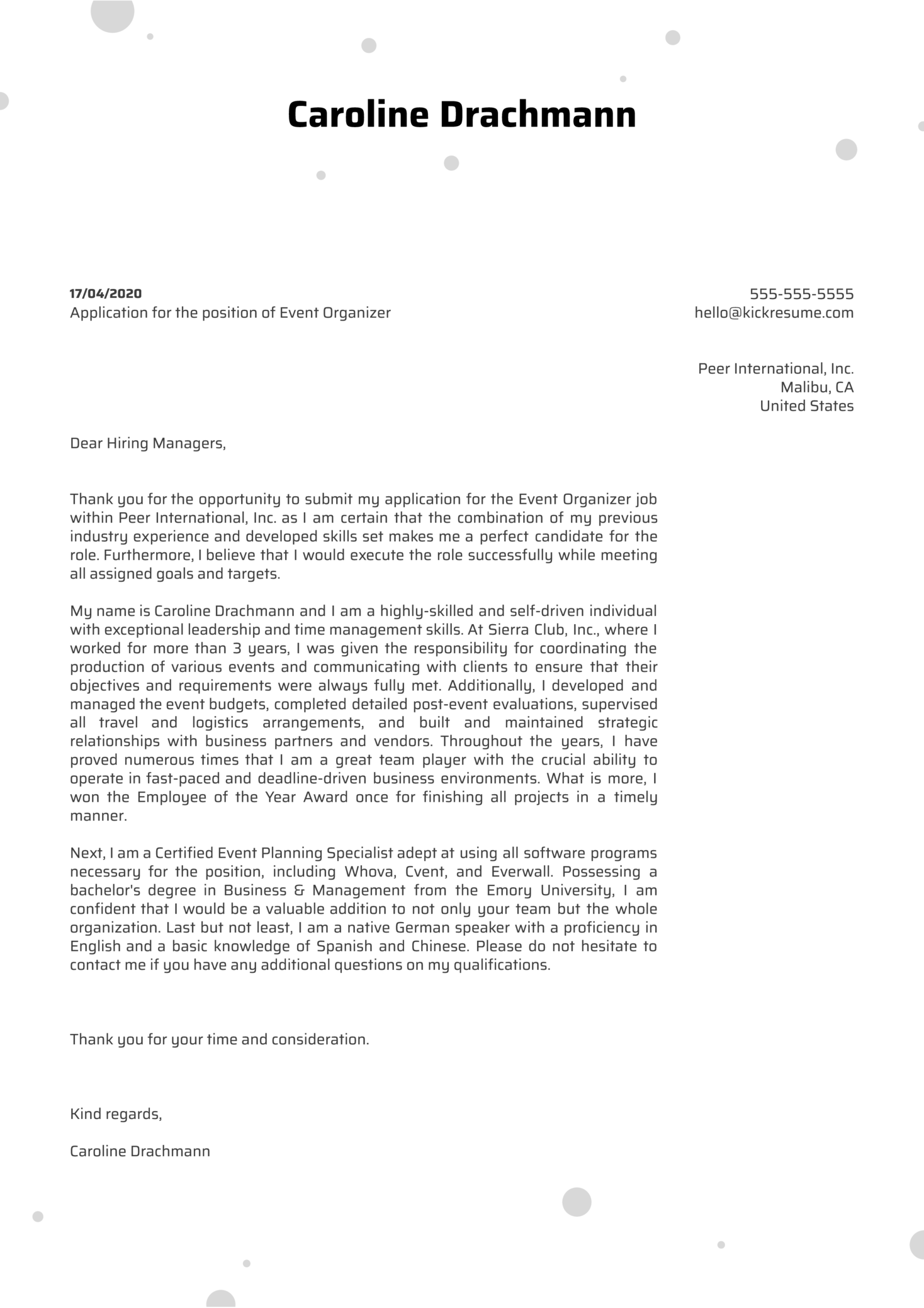 Event Organizer Cover Letter Sample