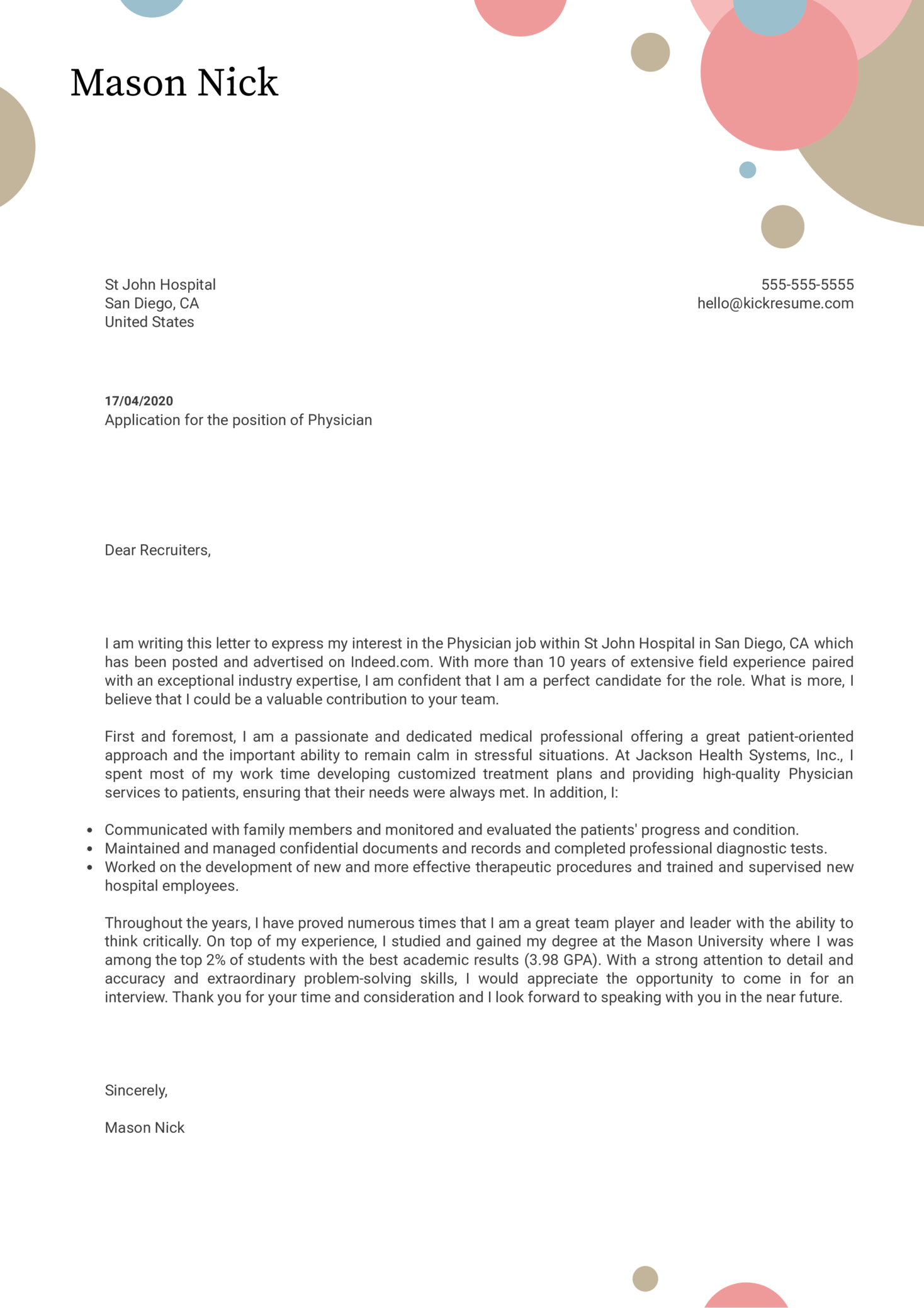 Physician Cover Letter Example Kickresume