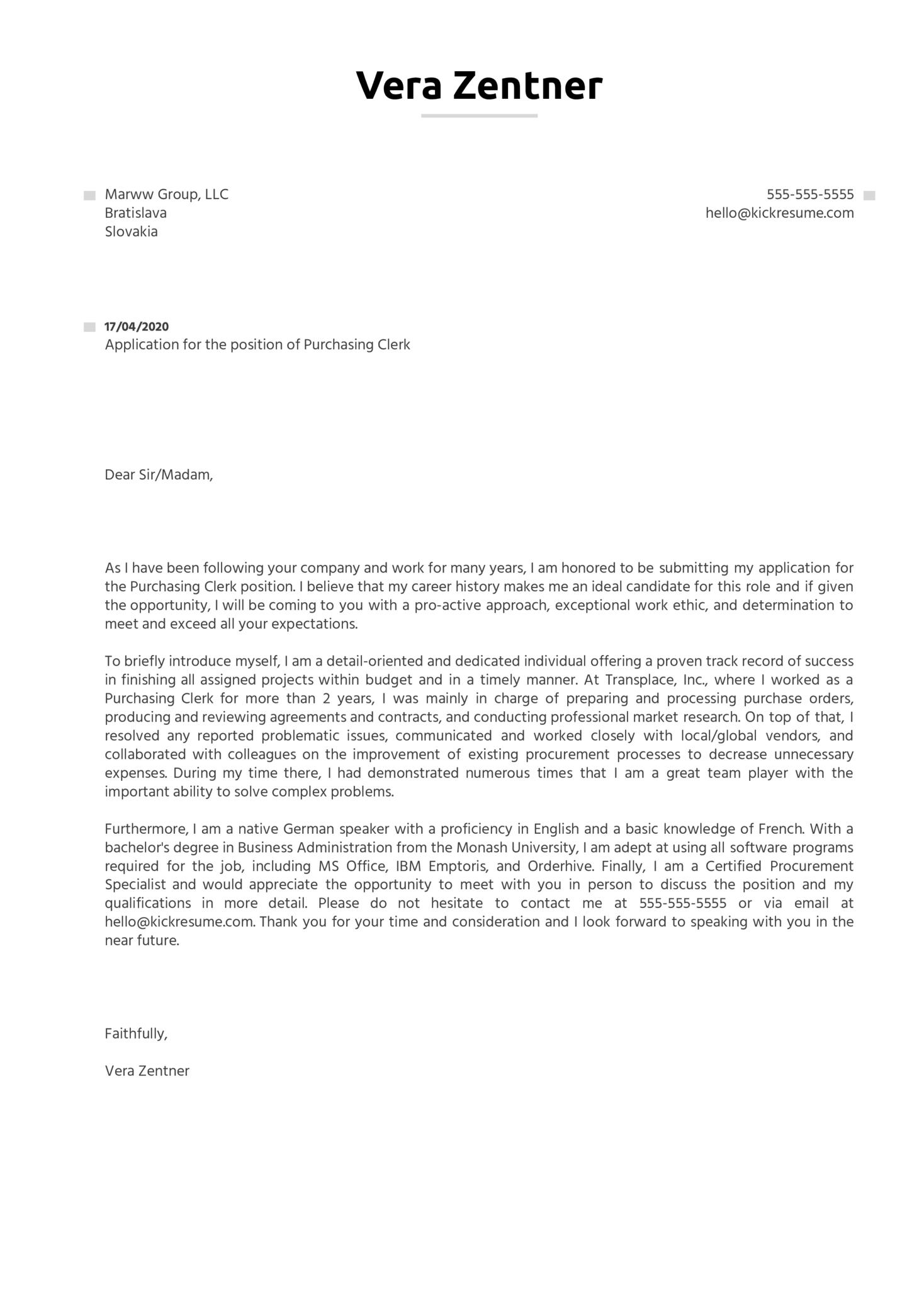 Purchasing Clerk Cover Letter Sample