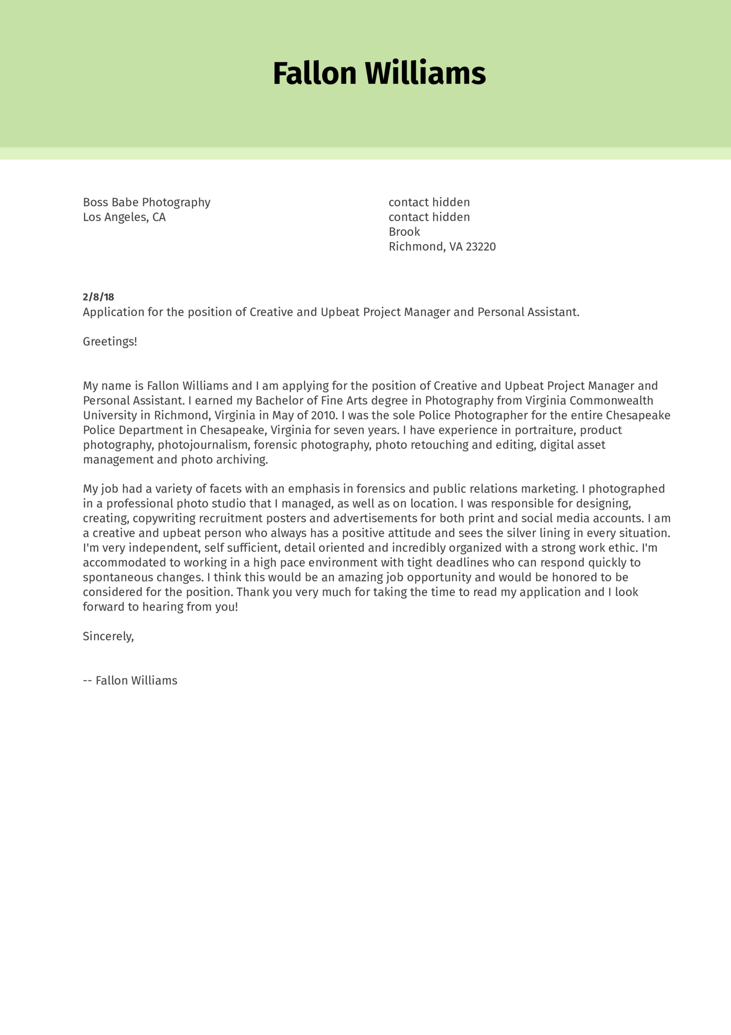 Cover Letter Examples by Real People: Personal creative assistant ...