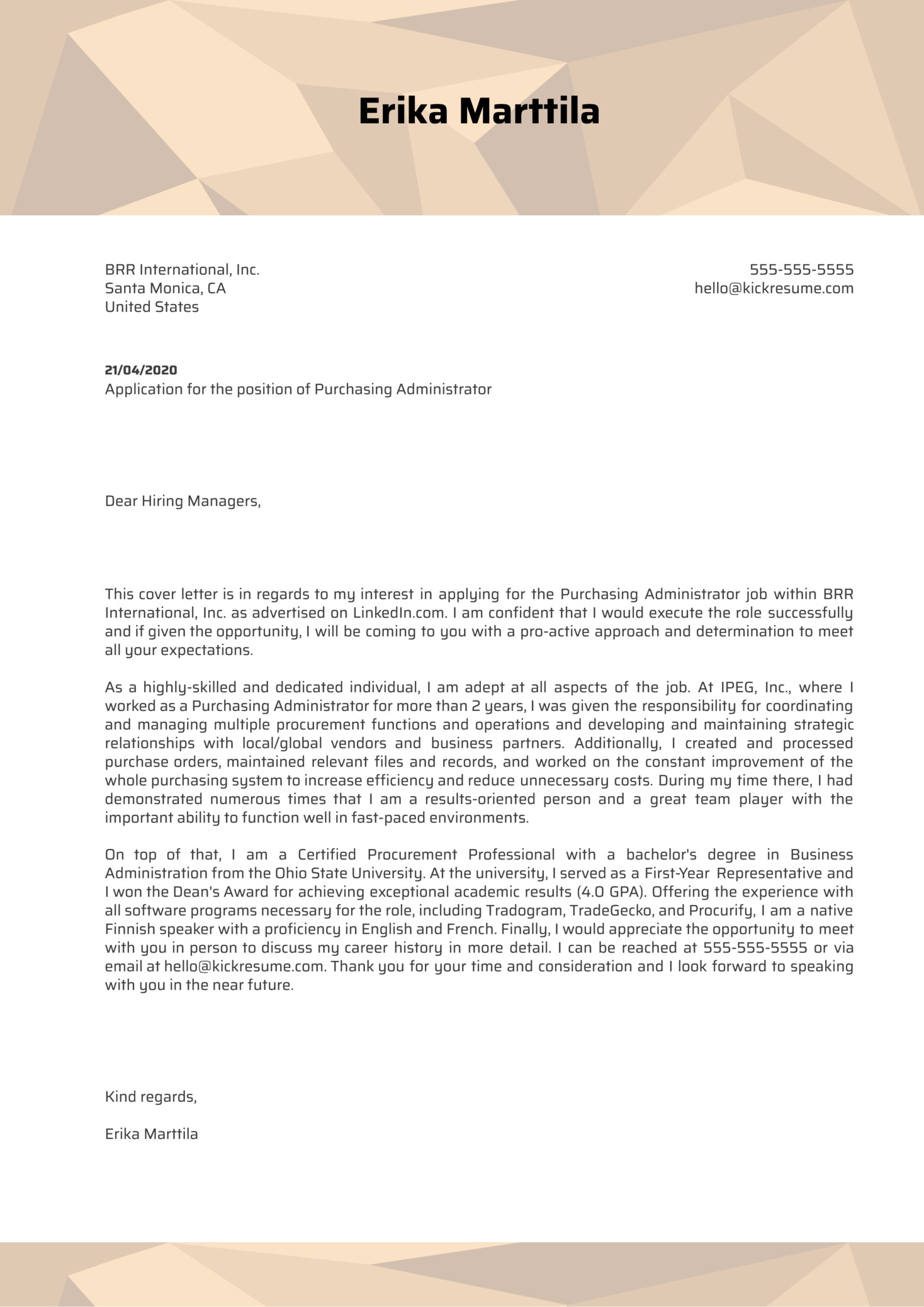Purchasing Administrator Cover Letter Example