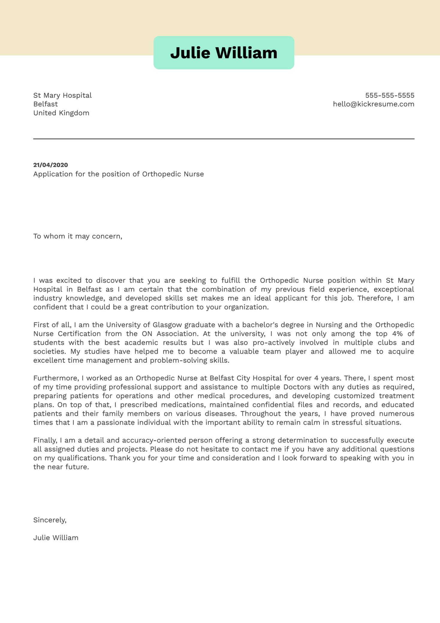 Orthopedic Nurse Cover Letter Sample   Kickresume