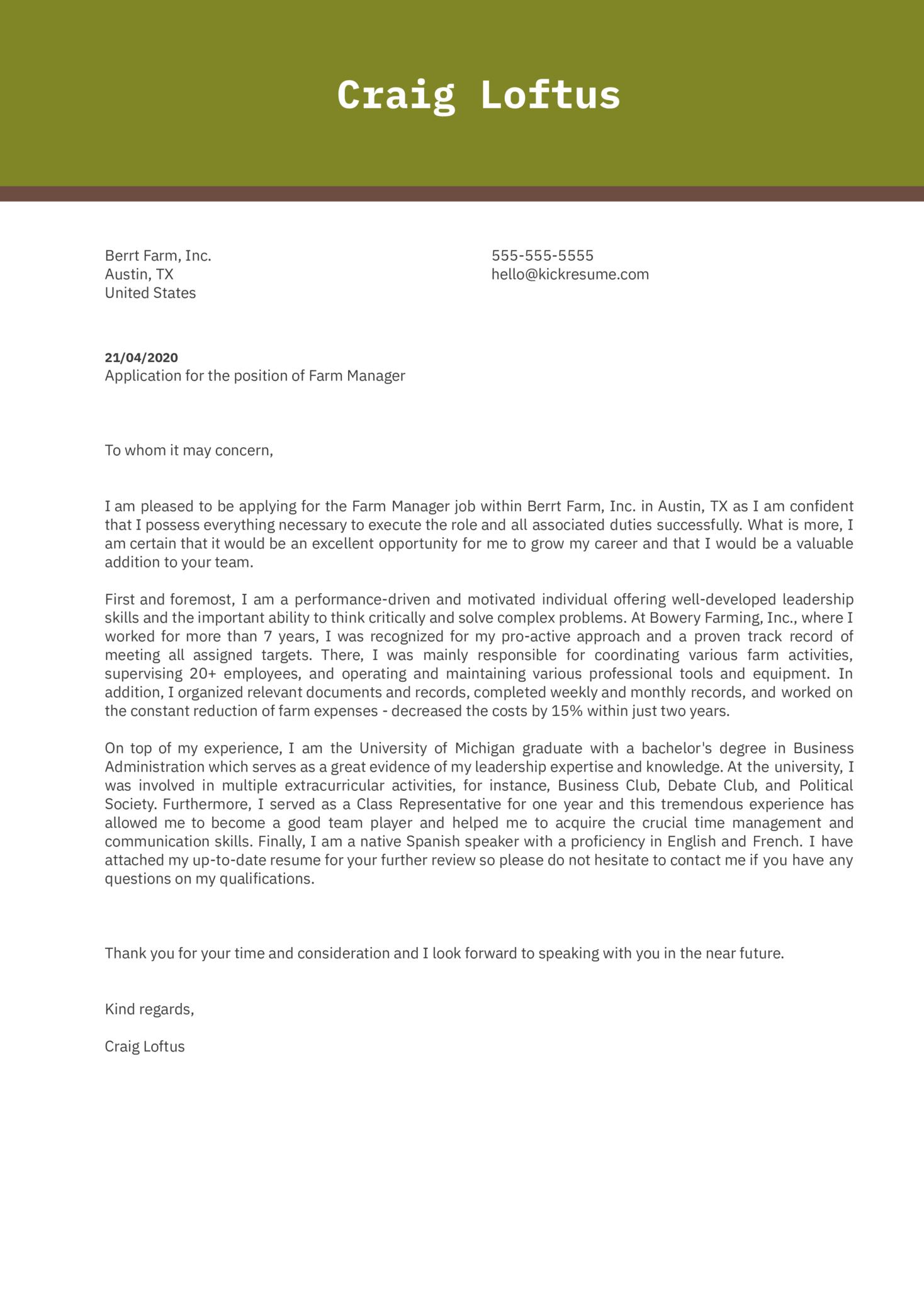 Farm Manager Cover Letter Sample