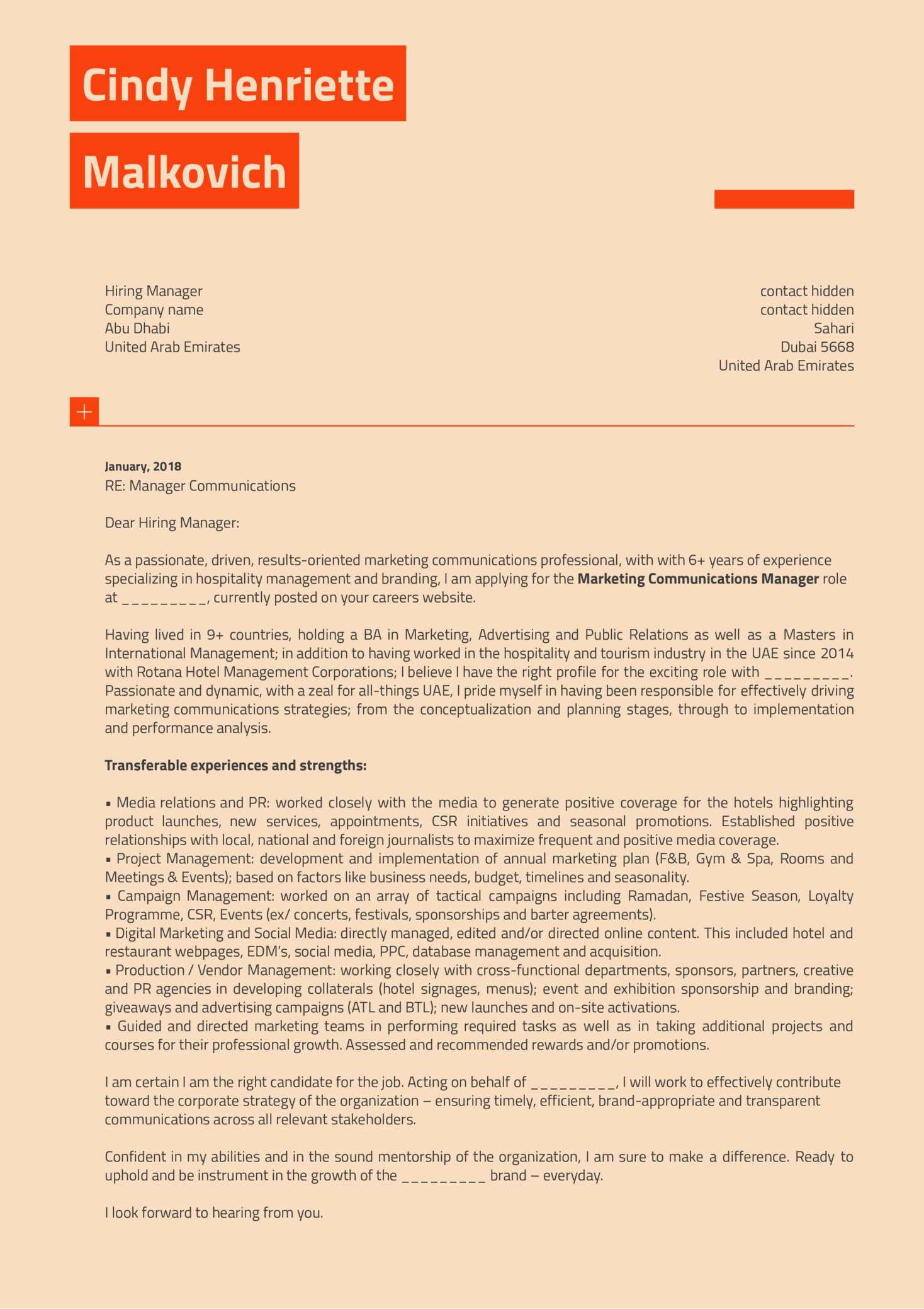 Marketing Communications Manager Cover Letter Sample (Teil 1)