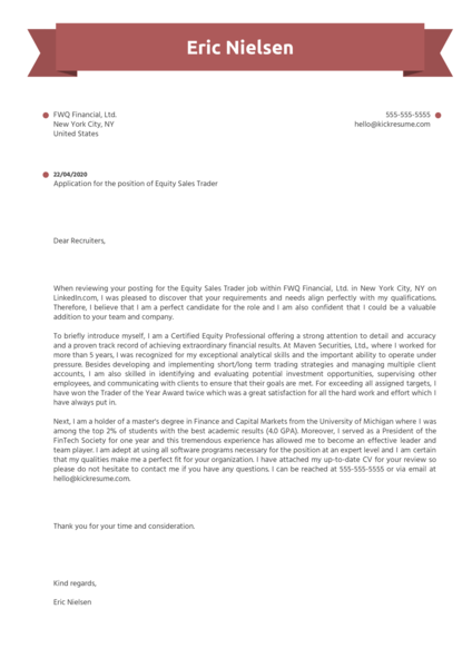 Equity Sales Trader Cover Letter Sample