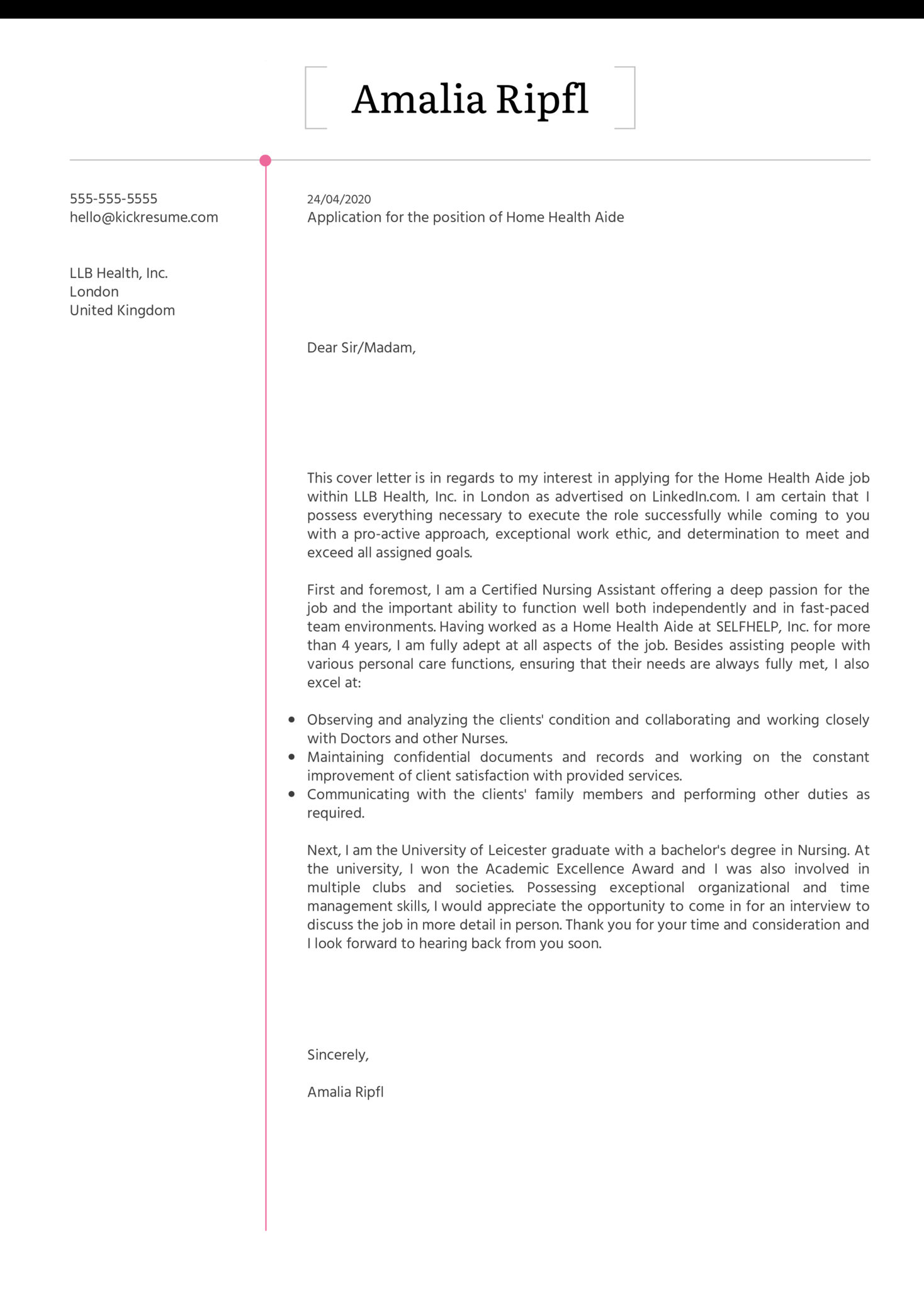 Home Health Aide Cover Letter Example Kickresume