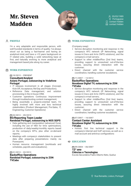 Hoist Group service assurance manager resume template