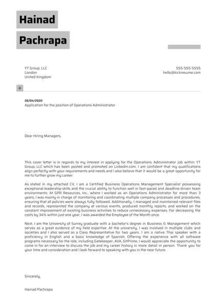 Operations Administrator Cover Letter Sample