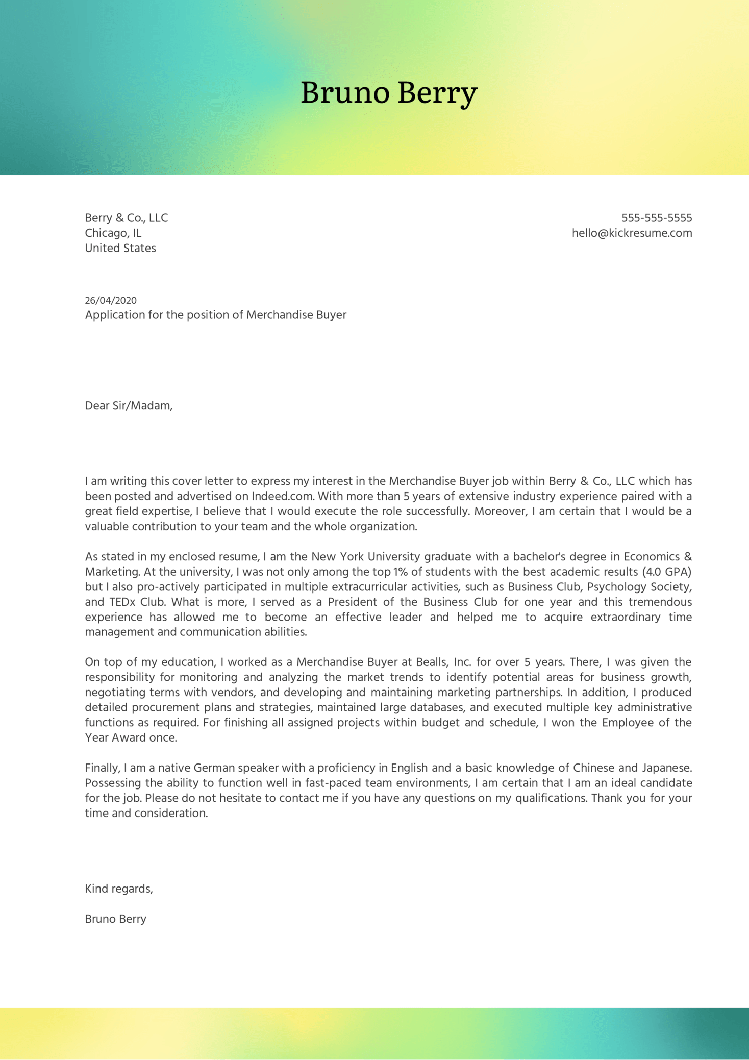 Merchandise Buyer Cover Letter Example
