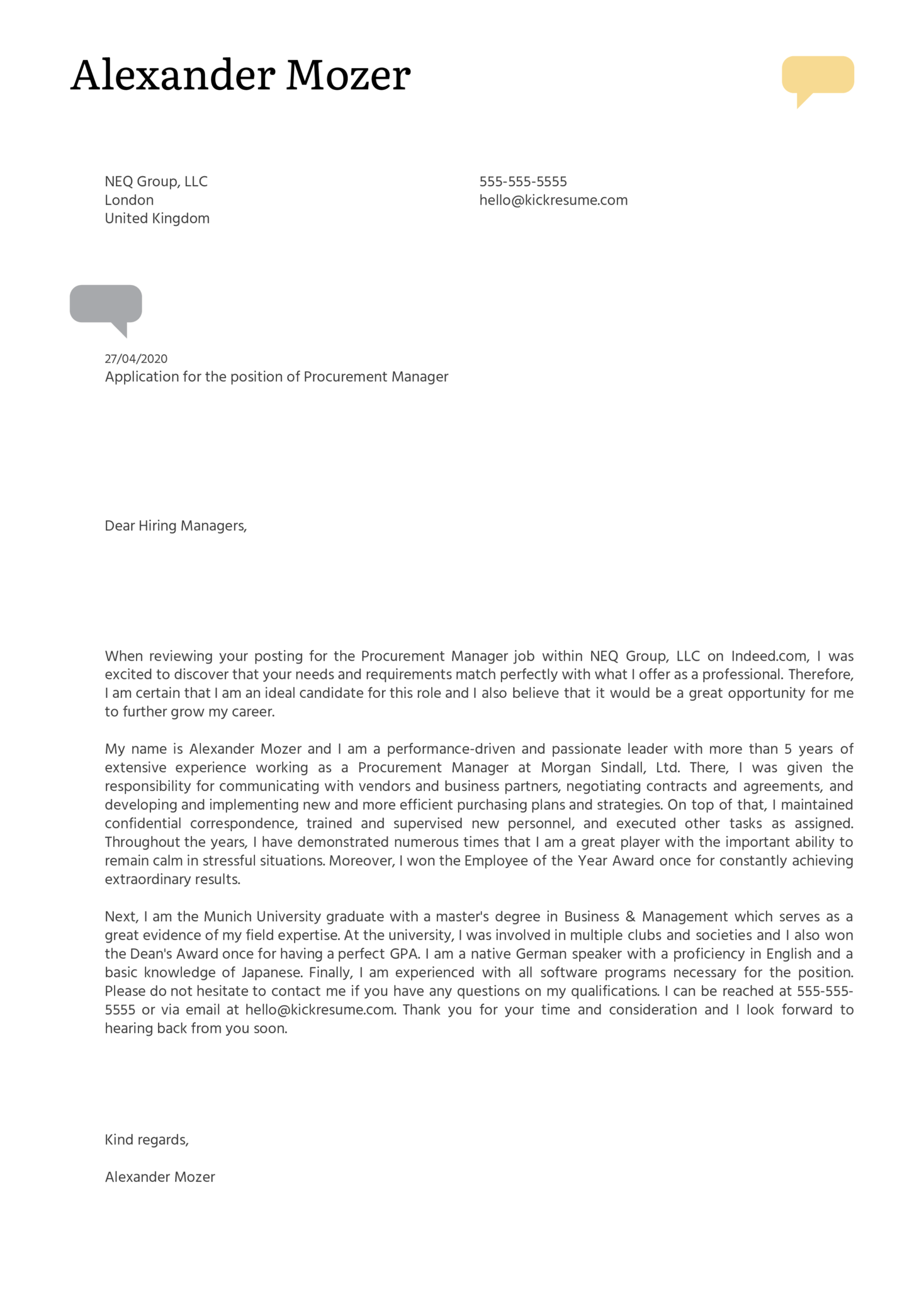Procurement Manager Cover Letter Example