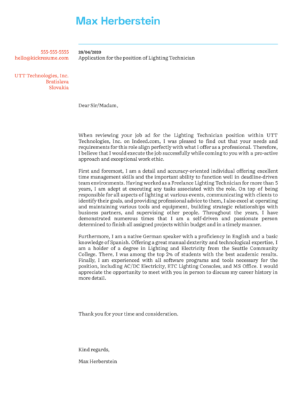 Lighting Technician Cover Letter Example
