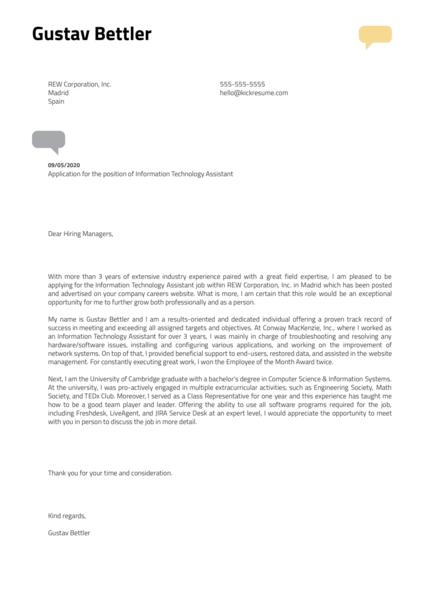 Information Technology Assistant Cover Letter Sample Kickresume