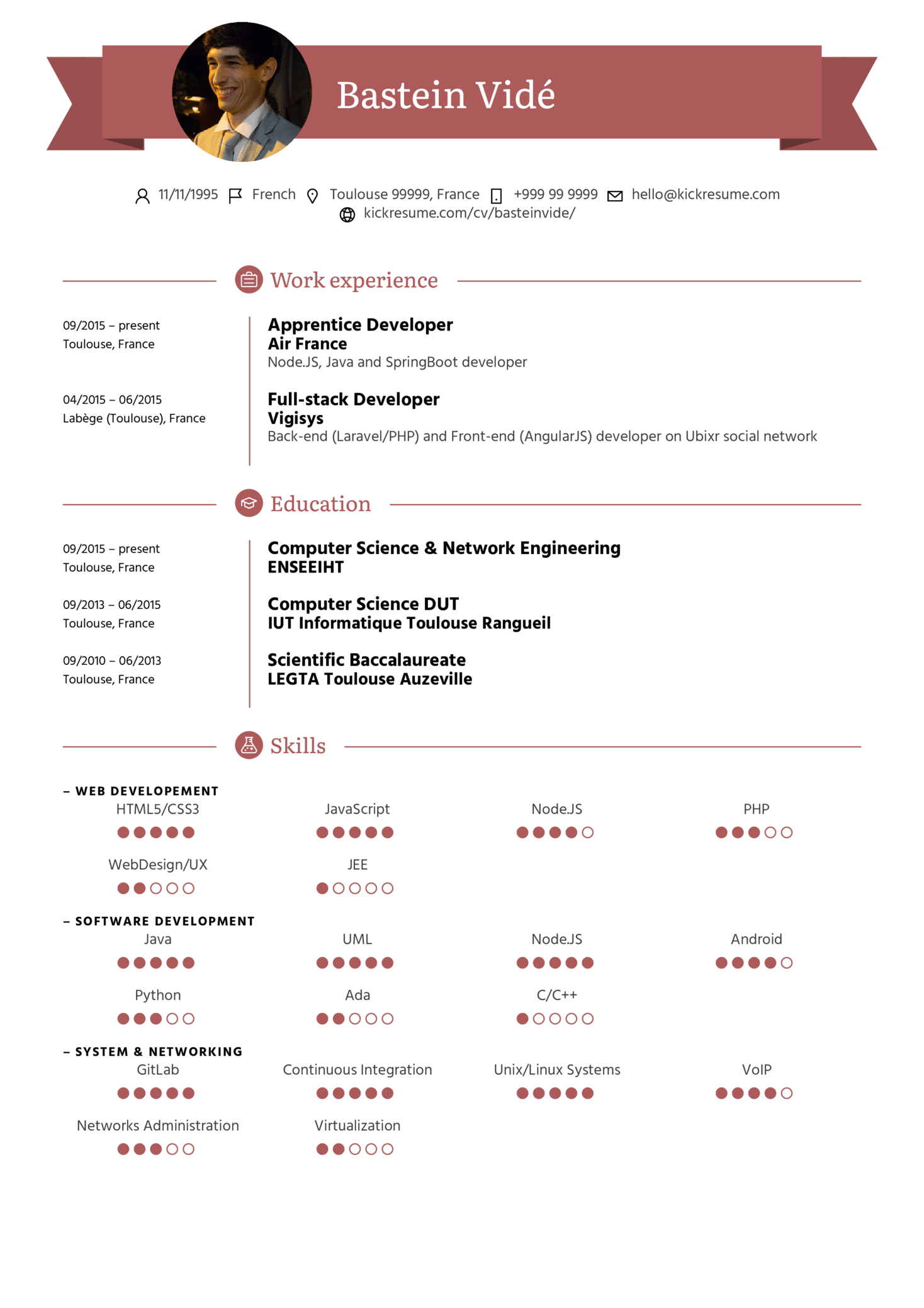 Air France Full Stack Developer Resume Template Kickresume