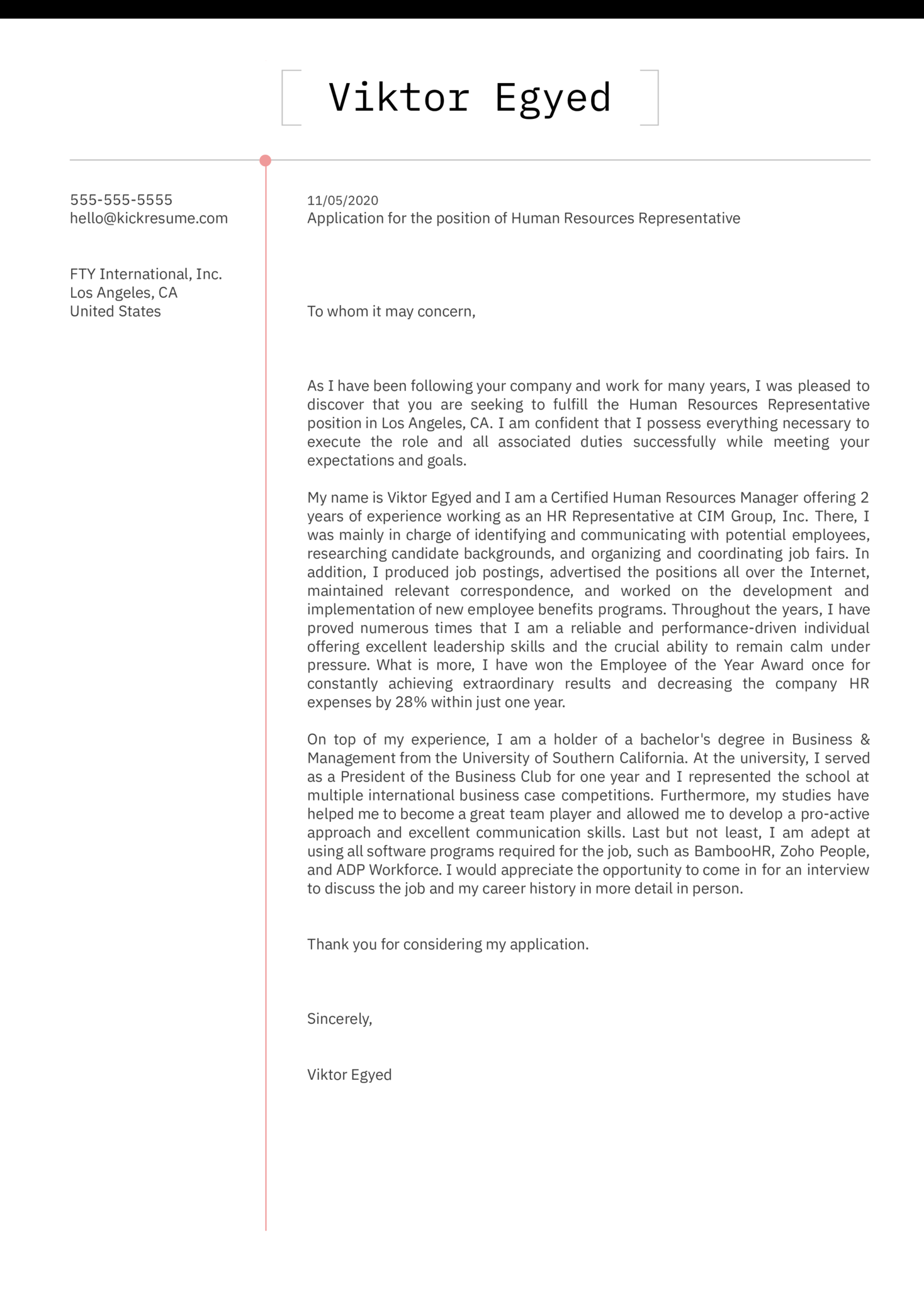 Human Resources Representative Cover Letter Sample