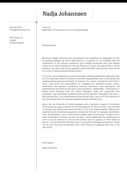 Accounting Manager Cover Letter Example Kickresume