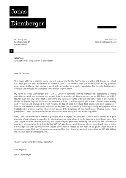 SAP Tester Cover Letter Sample