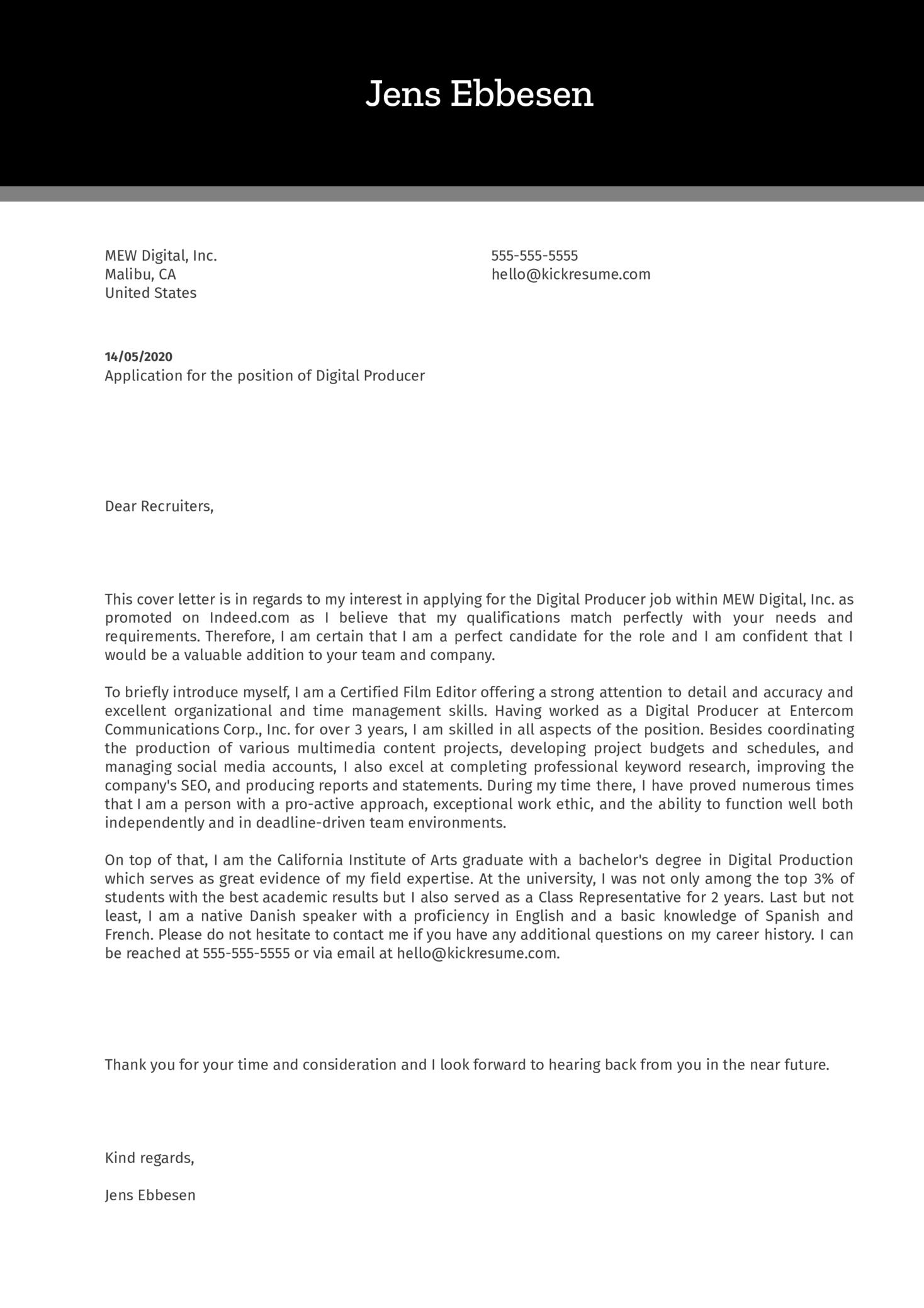 Digital Producer Cover Letter Sample Kickresume