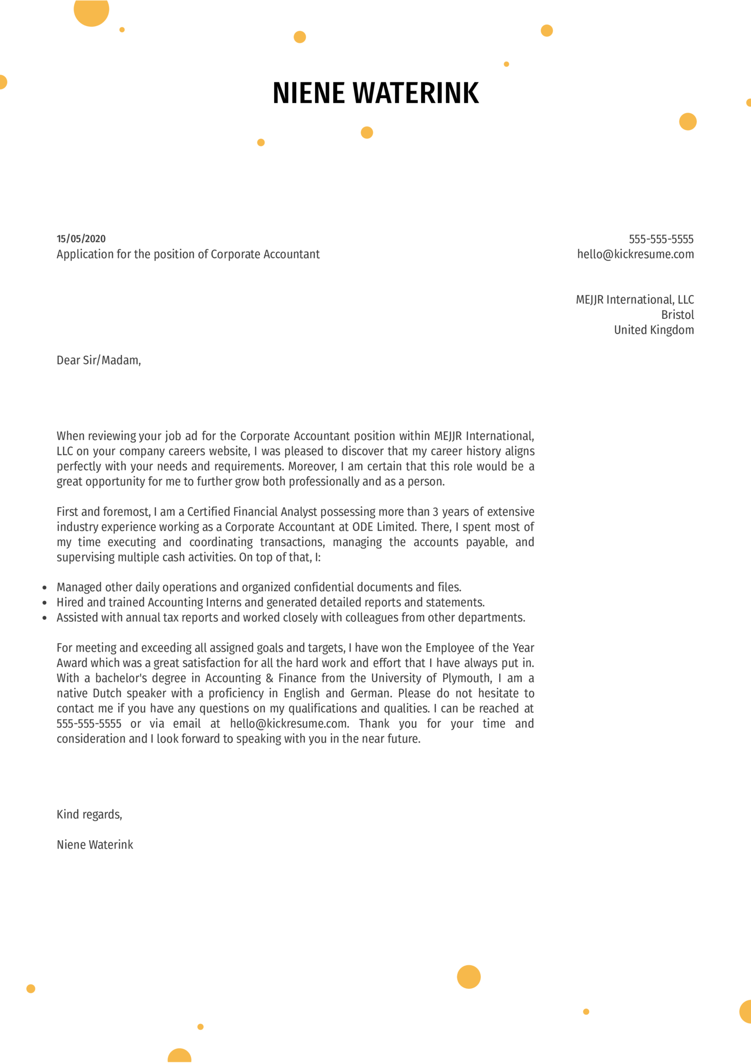 Corporate Accountant Cover Letter Example