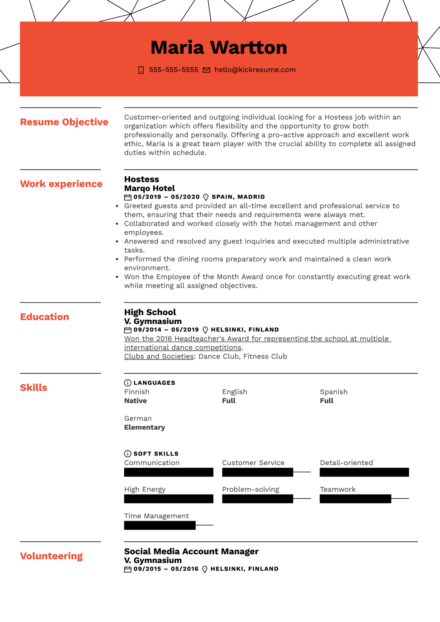 Hostess Resume Sample (parte 1)