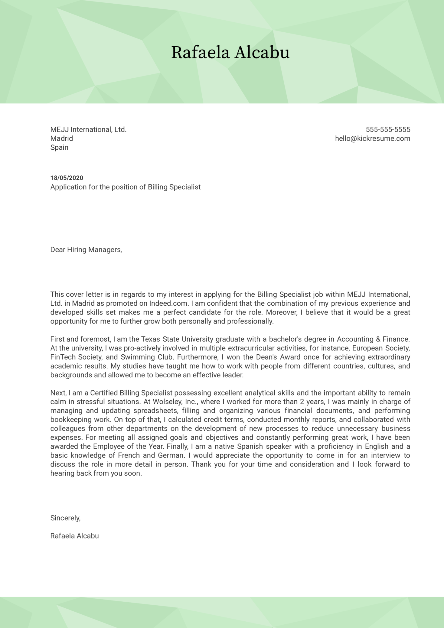 Billing Specialist Cover Letter Sample