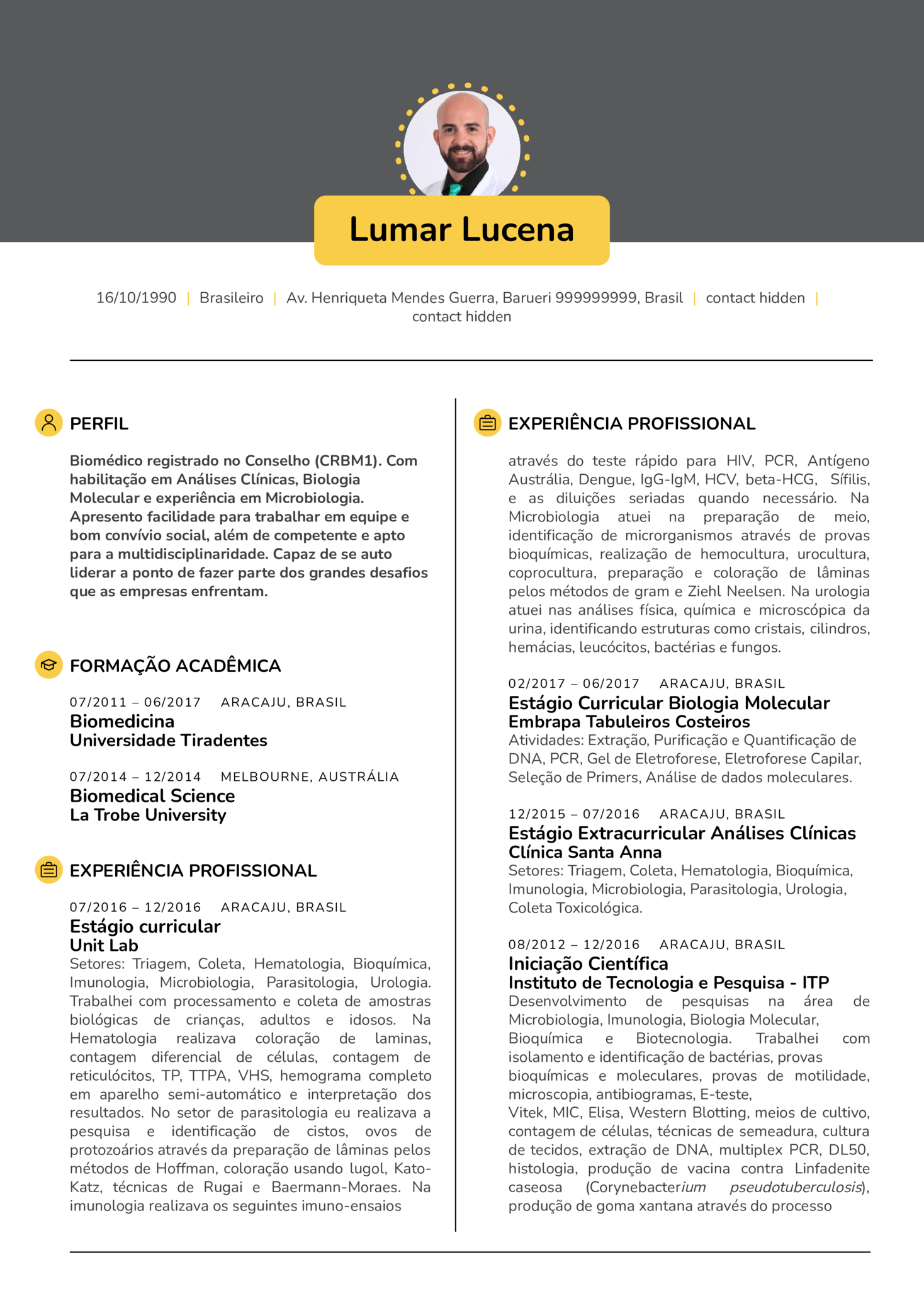resume examples by real people  analista de laborat u00f3rio