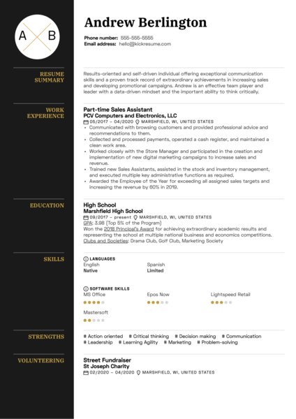 Free Resume Example for Teens
