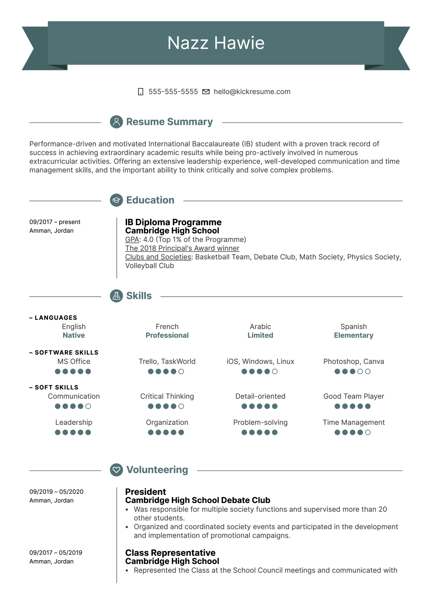 First Job Resume Template Kickresume