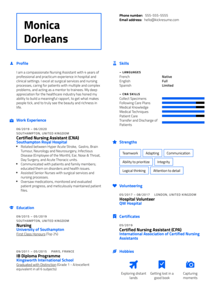 Certified Nursing Assistant (CNA) Free Resume Example