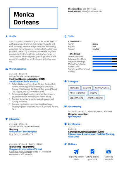 Certified Nursing Assistant (CNA) Resume Sample