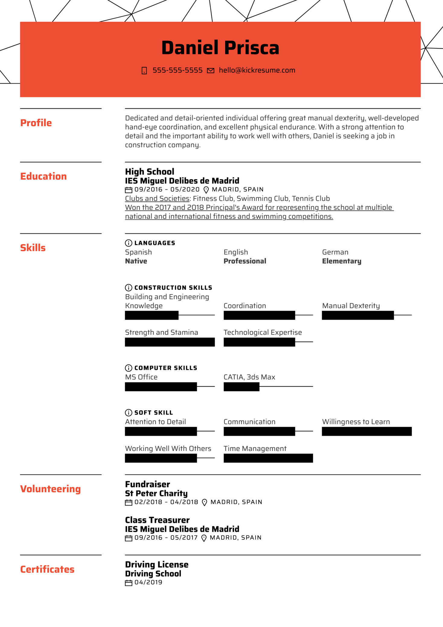 No Work Experience Resume Example Kickresume