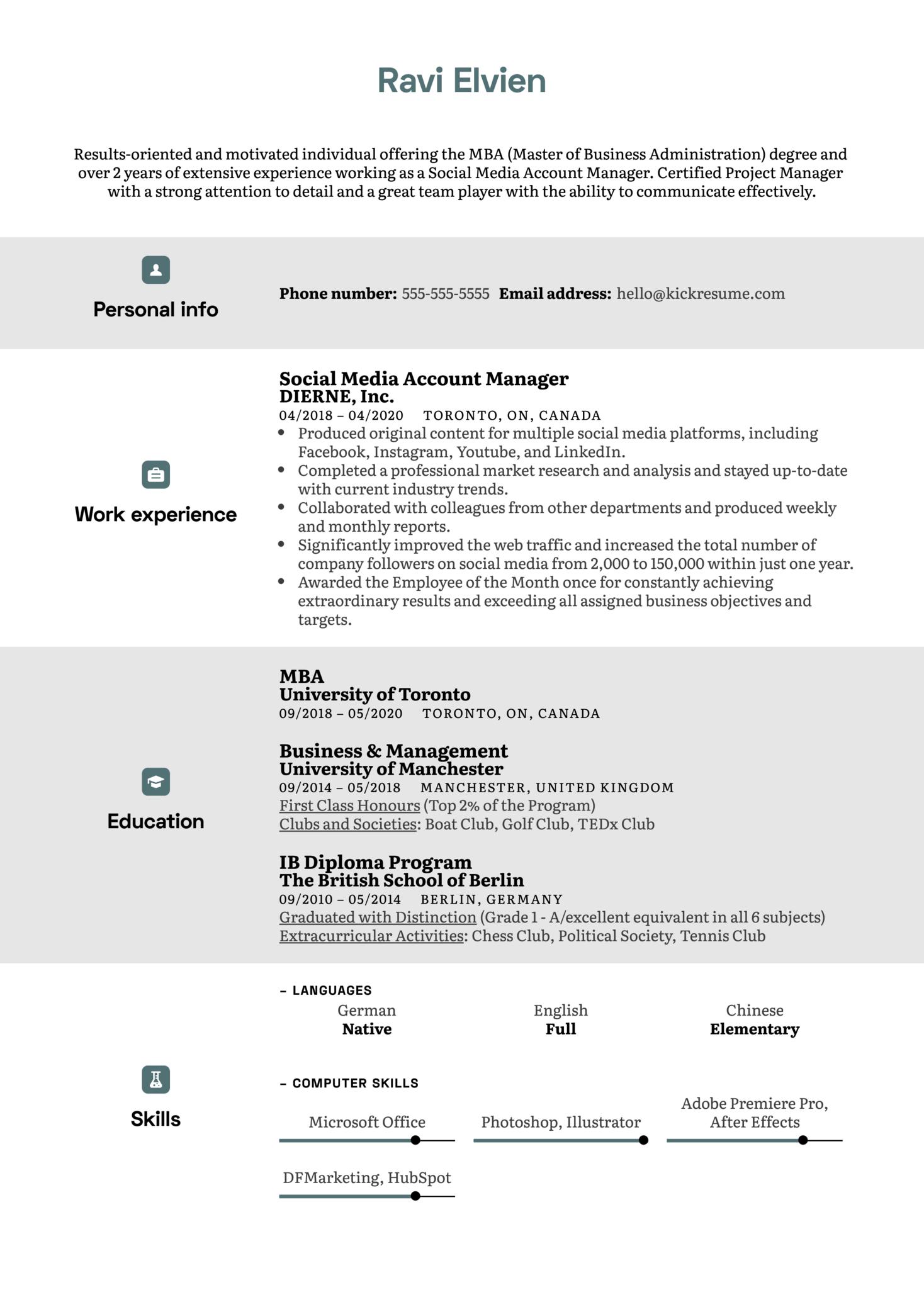 Mba Modern Resume Template Kickresume